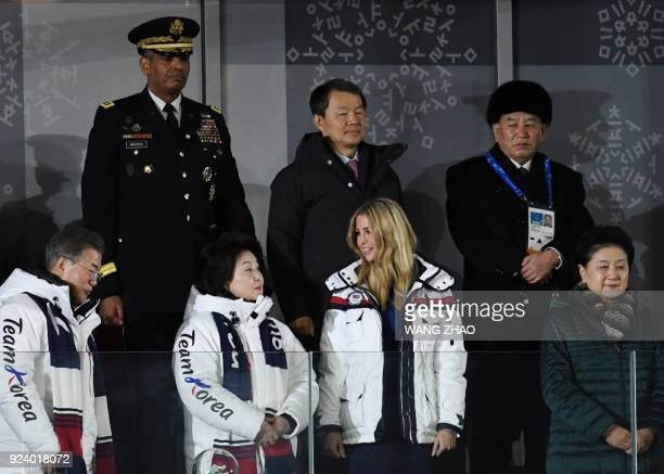 TOPSHOT South Korea's President Moon Jaein his wife Kim Jungsook US President Donald Trump's daughter and senior White House adviser Ivanka Trump and...