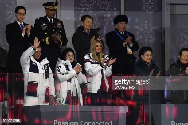 TOPSHOT South Korea's President Moon Jaein his wife Kim Jungsook US President Donald Trump's daughter and senior White House adviser Ivanka Trump...