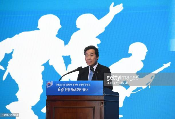 South Korea's Prime Minister Lee Nakyon speaks during a ceremony marking the 68th anniversary of the outbreak of the Korean War in Seoul on June 25...