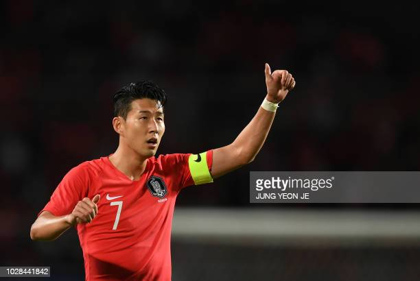 South Korea's Son Heungmin gestures during a friendly football match between South Korea and Costa Rica in Goyang north of Seoul on September 7 2018