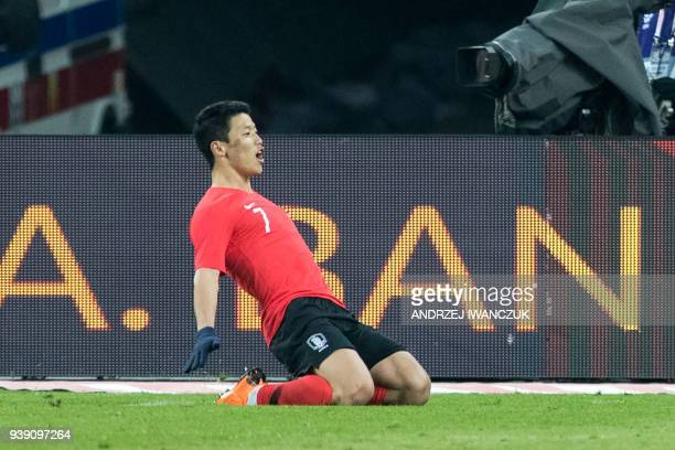 South Korea's striker Hwang Heechan celebrates after scoring a goal during the international friendly football match between Poland and South Korea...
