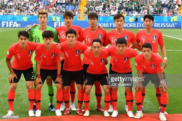 South Korea's team players South Korea's goalkeeper Cho Hyunwoo South Korea's midfielder Ki Sungyueng South Korea's defender Kim Younggwon South...