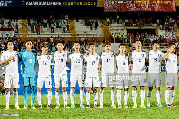South Korea's team pose for a team photo prior to the 2018 FIFA World Cup Asia qualifiers football match between South Korea and Syria at Tuanku...