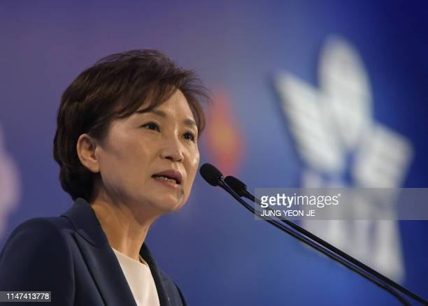 South Korea's Transport Minister Kim Hyun-mee speaks during the opening session of the annual general meeting of International Air Transport...