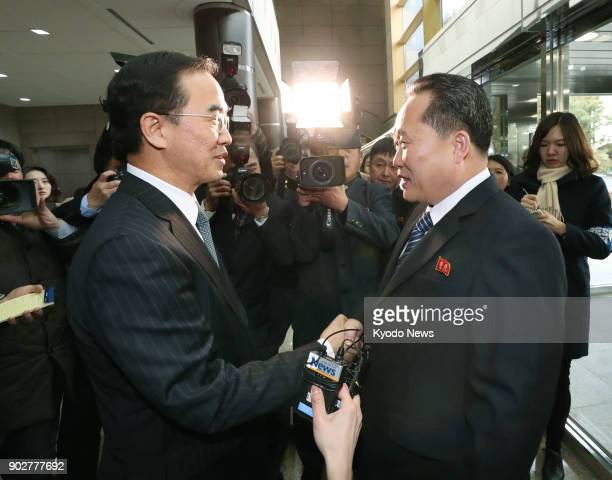 South Korea's Unification Minister Cho Myoung Gyon and Ri Son Gwon chairman of North Korea's Committee for the Peaceful Reunification of the Country...