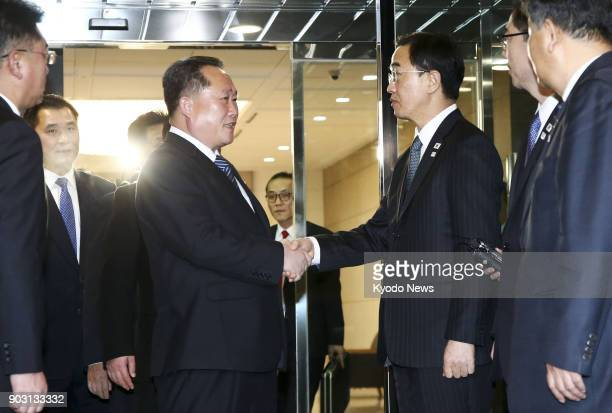 South Korea's Unification Minister Cho Myoung Gyon sees off Ri Son Gwon chairman of North Korea's Committee for the Peaceful Reunification of the...