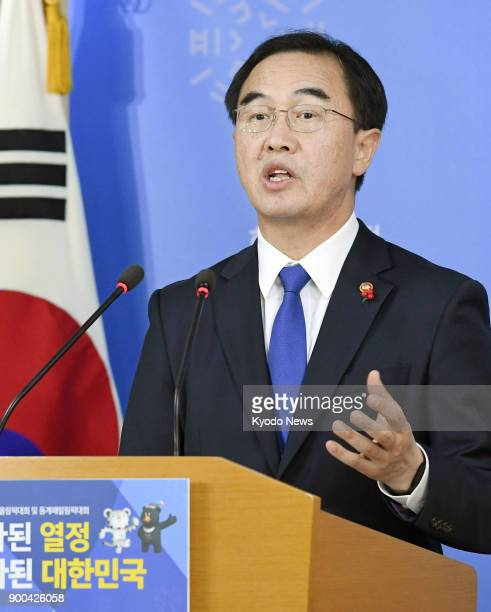 South Korea's Unification Minister Cho Myoung Gyon speaks at a press conference in Seoul on Jan 2 proposing highlevel talks with North Korea on Jan 9...