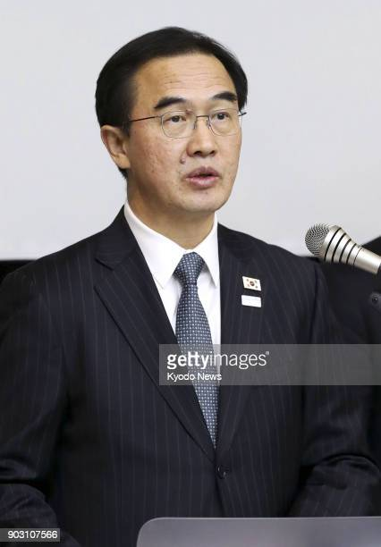 South Korea's Unification Minister Cho Myoung Gyon speaks to reporters after talks with North Korean officials at the border truce village of...