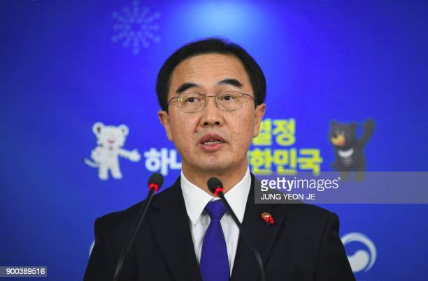 South Korea's Unification Minister Cho MyoungGyon speaks during a press conference at a government complex in Seoul on January 2 2018 South Korea on...