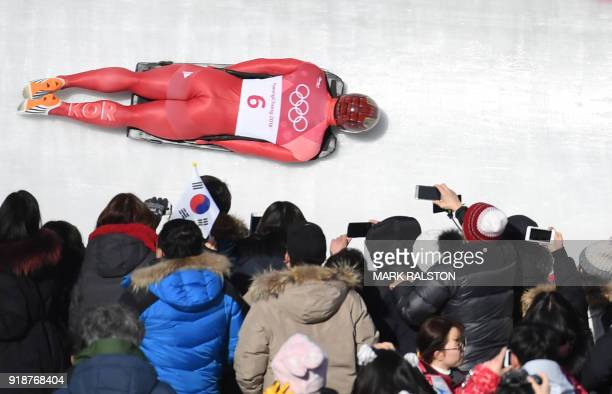 TOPSHOT South Korea's Yun Sungbin competes in the mens's skeleton heat 3 run during the Pyeongchang 2018 Winter Olympic Games at the Olympic Sliding...