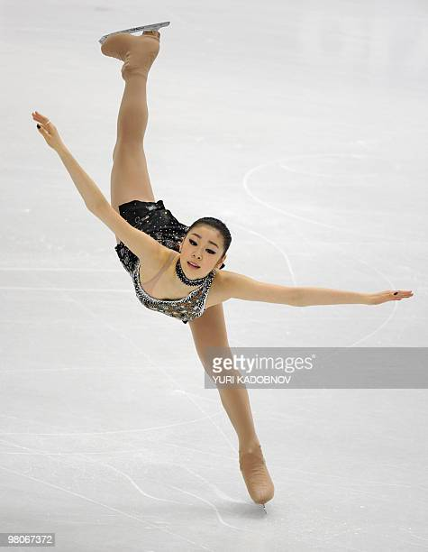 South Korea's YuNa Kim performs during the Ladie's Short Program competition at the World Figure Skating Championships on March 26 2010 at the...