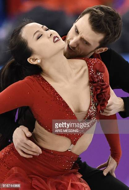South Korea's Yura Min and South Korea's Alexander Gamelin compete in the figure skating team event ice dance short dance during the Pyeongchang 2018...