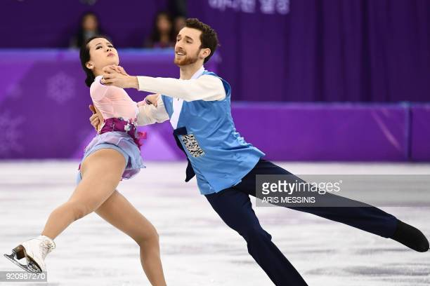 South Korea's Yura Min and South Korea's Alexander Gamelin compete in the ice dance free dance of the figure skating event during the Pyeongchang...