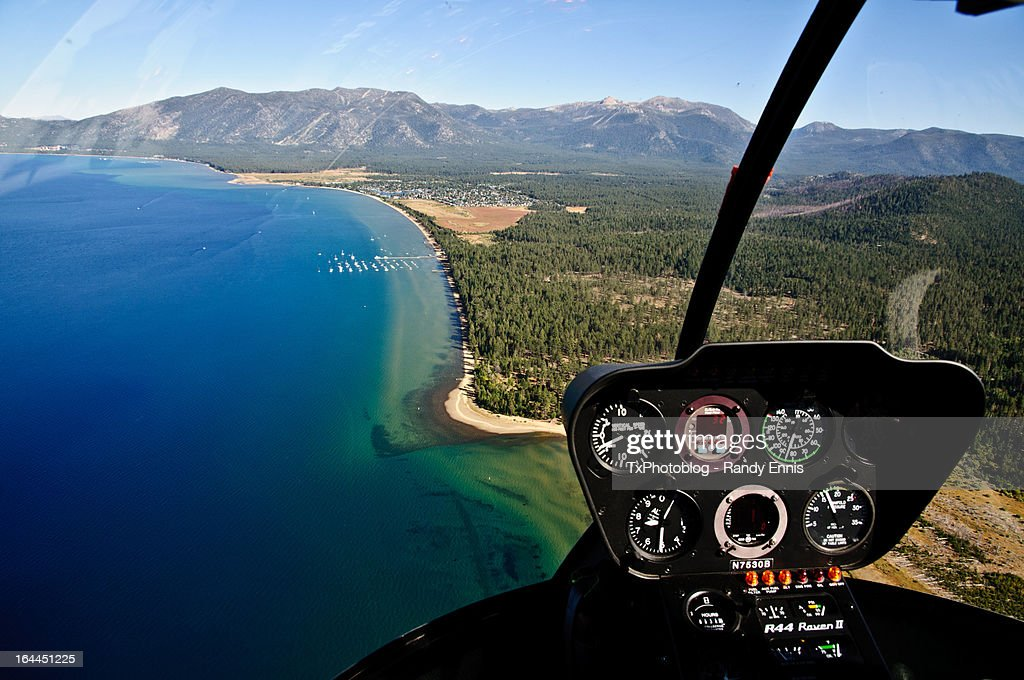 South Lake Tahoe Aerial View From Helicopter : Stock Photo