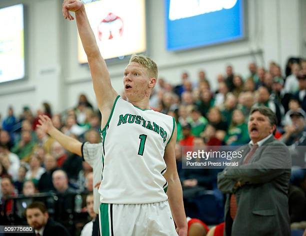 South Massabesic vs Scarborough quarterfinal at Portland Expo on Thursday February 11 2016 Ryan Gullikson of Massabesic watches his jump shot in...