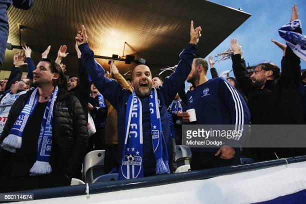 South Melbourne fans show their support during the FFA Cup Semi Final match between South Melbourne FC and Sydney FC at Lakeside Stadium on October...