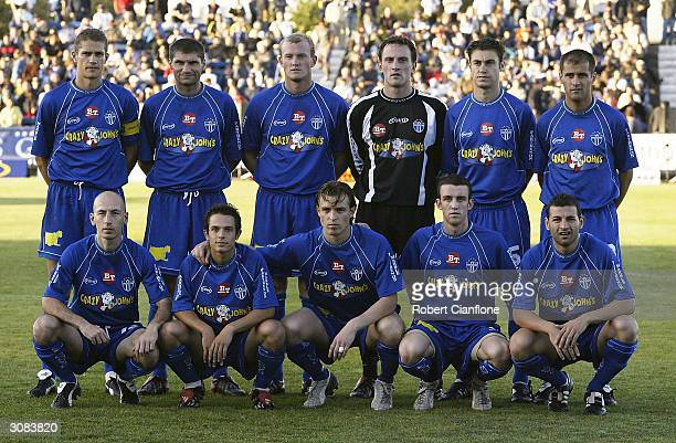 South Melbourne line up prior to the NSL second leg Finals Series between South Melbourne and the Marconi Stallions at the Bob Jane Stadium on March...