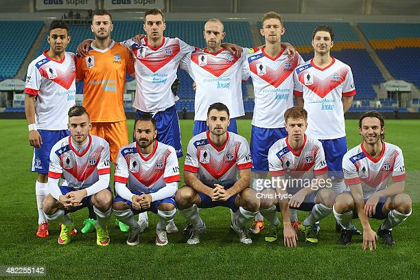 South Melbourne pose for a team photo before the FFA Cup match between Palm Beach and South Melbourne at Cbus Super Stadium on July 29 2015 in Gold...