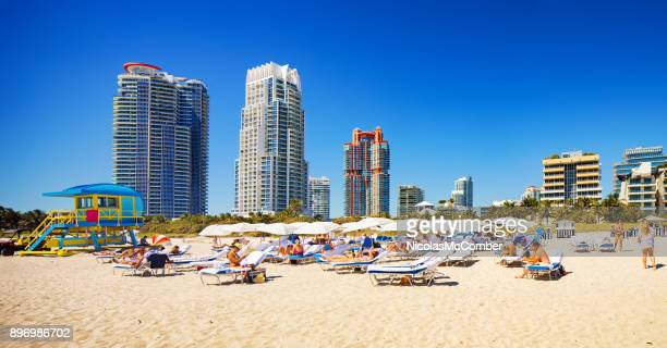South Miami beach panoramic scene on sunny Winter day with tall apartment buildings