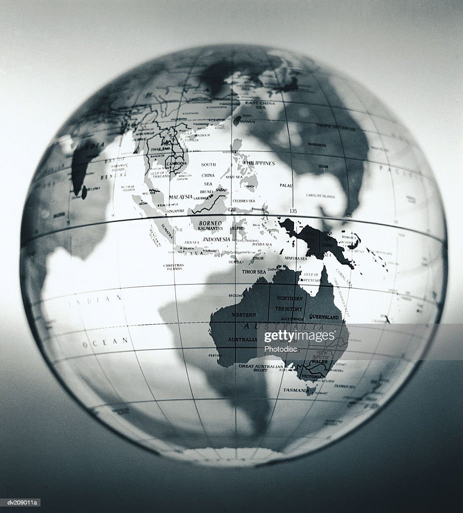 South Pacific and Australia on translucent globe : Stock Photo