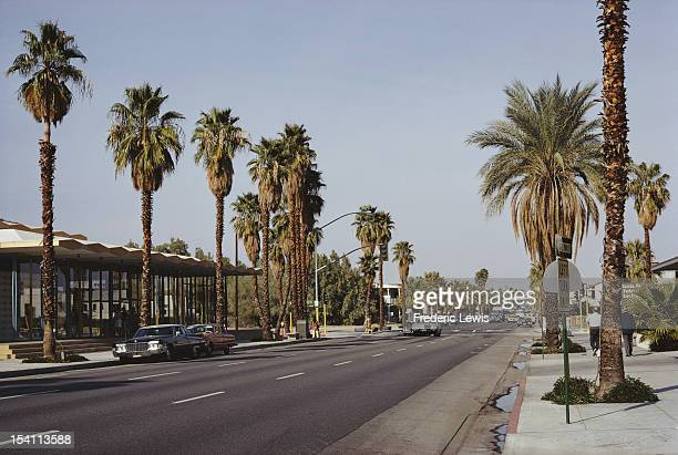 South Palm Canyon Drive in Palm Springs California USA circa 1965 The Santa Fe Federal Savings Loan building is just visible on the right near the...