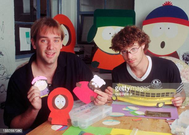 South Park creators Matt Stone and Trey Parker, at their studio office, August 19, 1997 in Los Angeles, California.