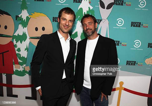 South Park writers/creators Matt Stone and Trey Parker arrive at 'South Park's' 15th Anniversary Party at The Barker Hanger on September 20 2011 in...