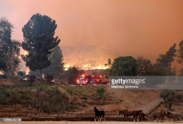 South Pasadena Fire Department engine fights the Woolsey Fire as it moves through the property on Cornell Road near Paramount Ranch on November 9...