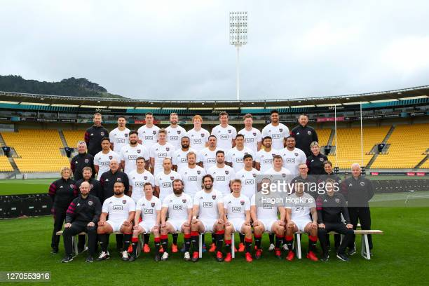 South players and management pose for a team photo during a North v South Captain's Run at Sky Stadium on September 04 2020 in Wellington New Zealand