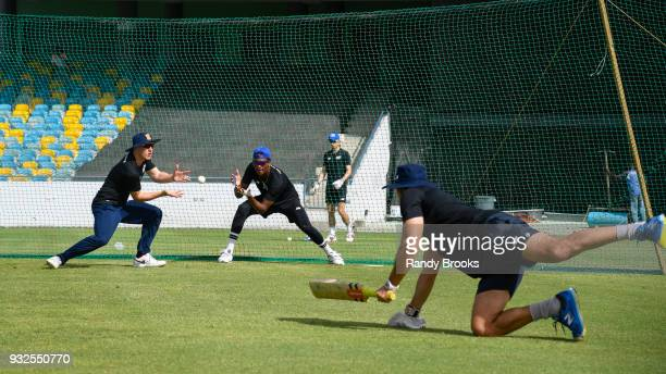South players Tom Barber and Delray Rawlins during the ECB North v South Series warm up game between South and Barbados XI at Kensington Oval on...