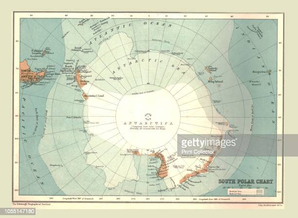 South Polar Chart 1902 From The Century Atlas of the World [John Walker Co Ltd London 1902] Artist Unknown