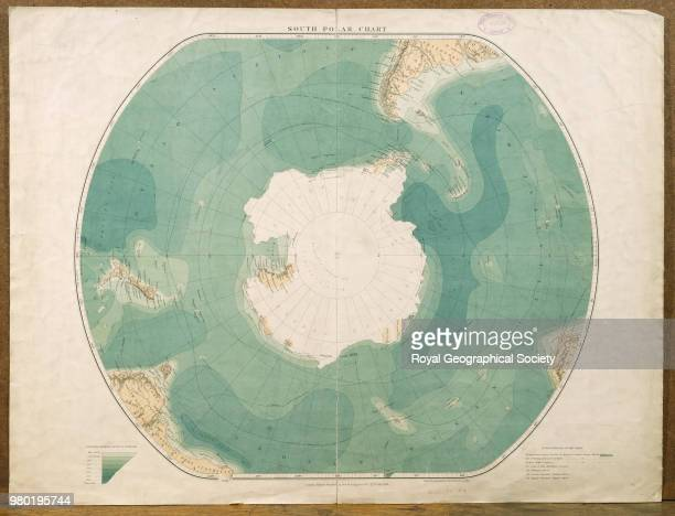 South Polar Chart Map showing the South Pole with routes of previous explorations Published by E Stanford Ltd Scale 122 000 Antarctica 1901