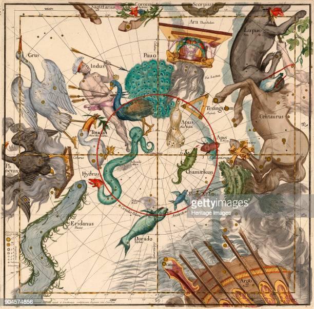 South Pole Plate 6 from Globi coelestis in tabulas planas redacti descriptio IgnaceGaston Pardies pub 1674