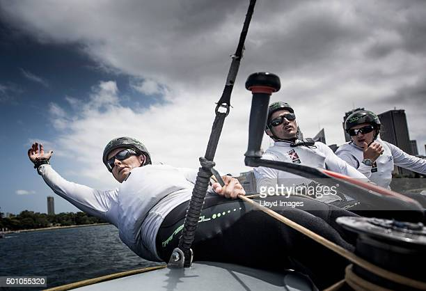 South Racing Team trimmer Stacey Jackson of Australia during Day 3 of the 2015 Extreme Sailing Series Act 8 in Sydney Harbour on December 12 2015 in...