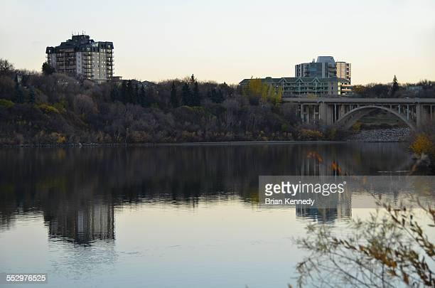 south saskatchewan river cityscape - south saskatchewan river stock photos and pictures
