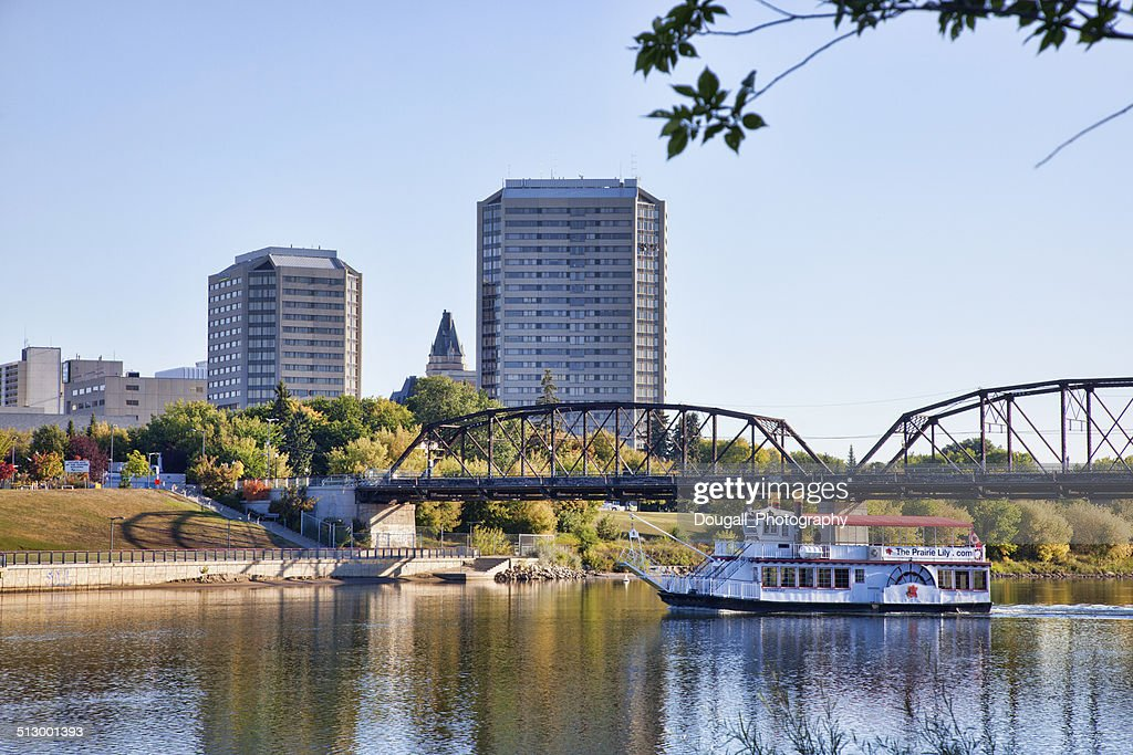 South Saskatchewan River in Downtown Saskatoon with Riverboat : Stock Photo