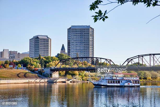 South Saskatchewan River in Downtown Saskatoon with Riverboat