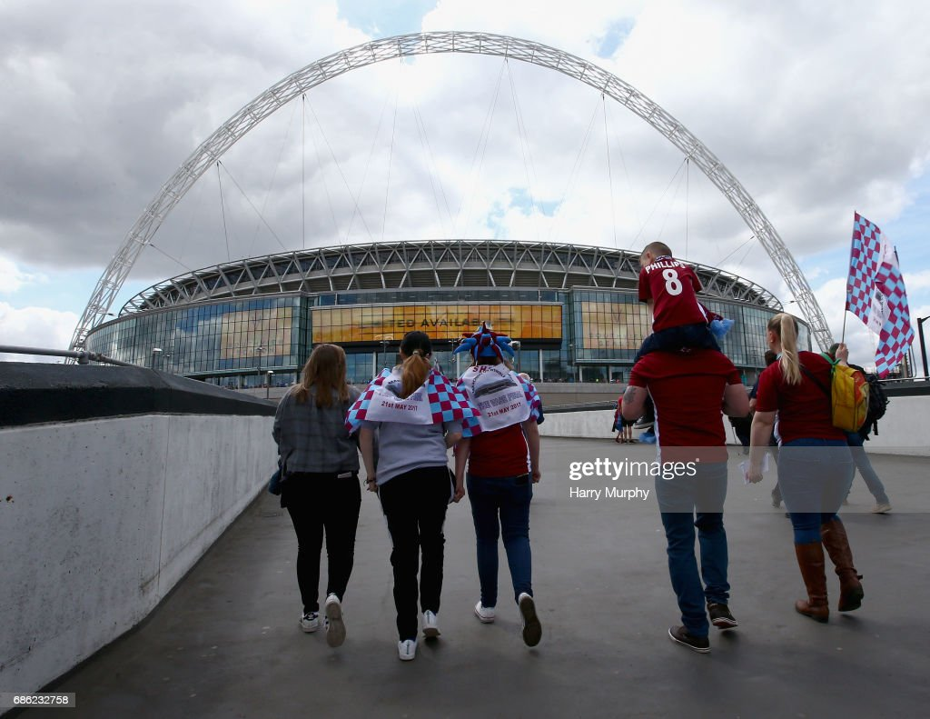 South Shields fans make their way to the stadium prior to the Buildbase FA Vase Final between South Shields and Cleethorpes Town at Wembley Stadium on May 21, 2017 in London, England.