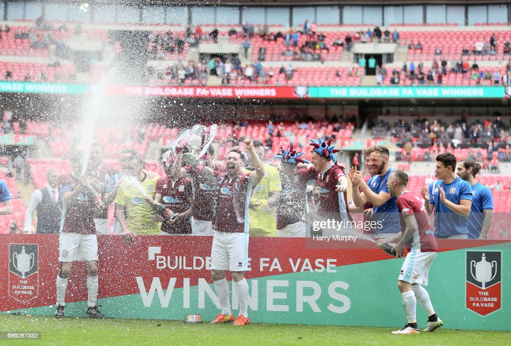 South Shields players celebrate winning the FA Vase trophy after the Buildbase FA Vase Final between South Shields and Cleethorpes Town at Wembley Stadium on May 21, 2017 in London, England.
