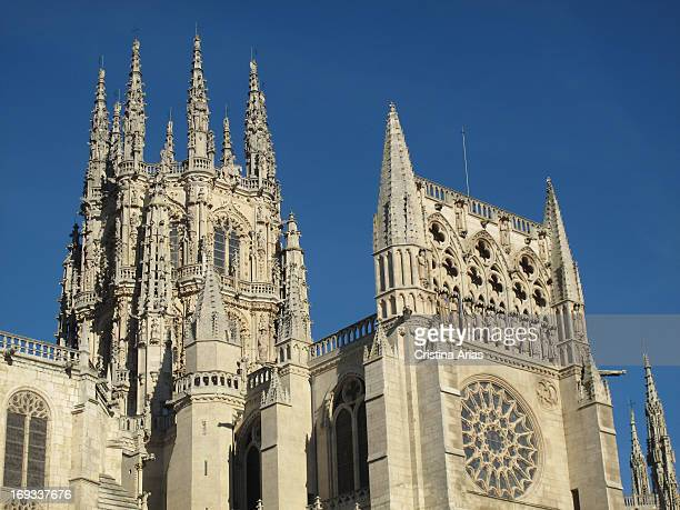 South side of cathedral of Burgos from the Plaza de San Fernando with Condestable chapel UNESCO World Heritage Site Burgos Castile and León Spain