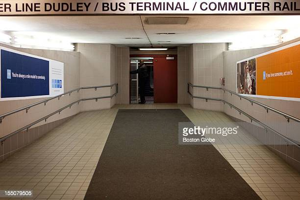 South Station security guard locks the door to an entrance to the T commuter train The Boston MBTA commuter train was shut down at 200 pm on Monday...