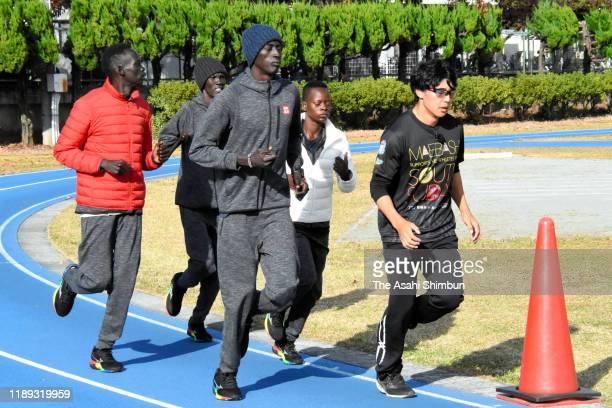 South Sudan athletes warm up during a training session on November 18, 2019 in Maebashi, Gunma, Japan.