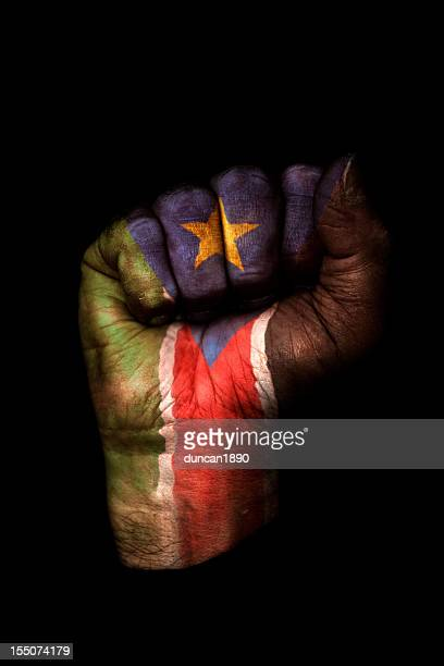 south sudan flag fist - sudan stock pictures, royalty-free photos & images