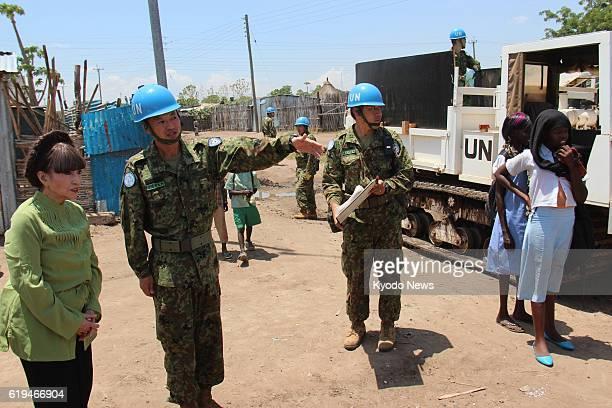 South Sudan - Japanese actress and UNICEF goodwill ambassador Tetsuko Kuroyanagi visits Japan Ground Self-Defense Force troops engaged in...