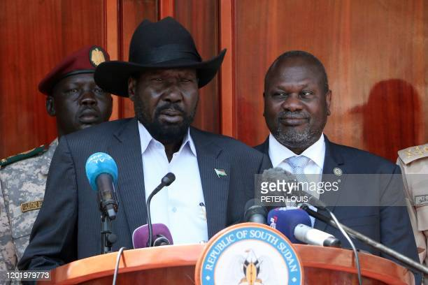 South Sudan President Salva Kiir gives a press conference jointly with his former vicepresident and political rival Riek Machar after they met at the...