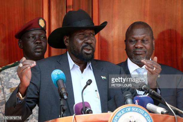 South Sudan President Salva Kiir gives a press conference jointly with his former vice-president and political rival Riek Machar after they met at...