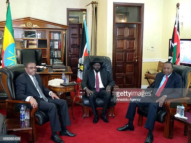 South Sudan President Salva Kiir Mayardit meets with Ethiopian Prime Minister Hailemariam Desalegn and Kenyan President Uhuru Kenyatta on December 26...