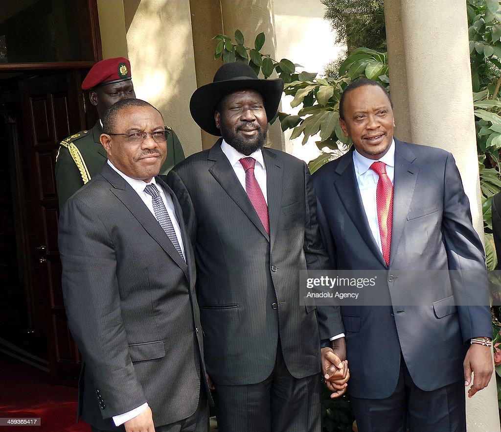 Kenya President, Ethiopia PM meet Kiir over S. Sudan crisis : News Photo