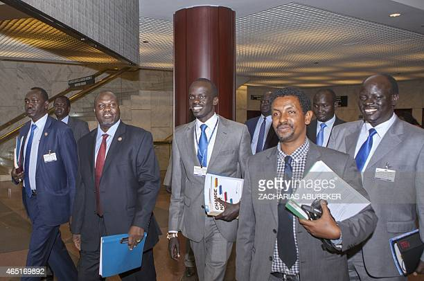 South Sudan rebel chief and former vicepresident Riek Machar walks prior to a meeting on March 3 2015 in Addis Ababa as part of the latest round of...