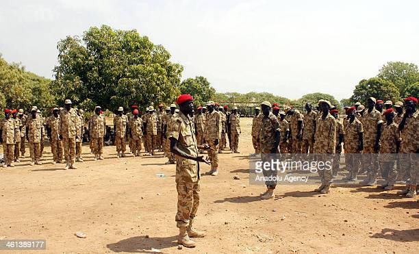 South Sudanese army soldiers are seen on January 8, 2014 in Juba, South Sudan. South Sudanese army spokesman Philip Aguer explains that South...